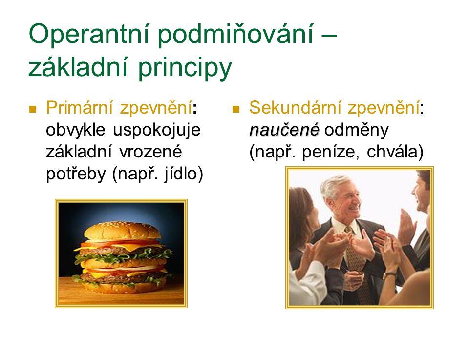 Primární zpevnění: obvykle uspokojuje základní vrozené potřeby (např. jídlo) naučené Sekundární zpevnění: naučené odměny (např. peníze, chvála) Operan