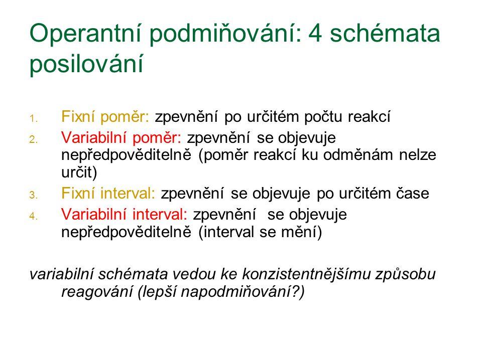 Operantní podmiňování: 4 schémata posilování 1. Fixní poměr: zpevnění po určitém počtu reakcí 2. Variabilní poměr: zpevnění se objevuje nepředpovědite