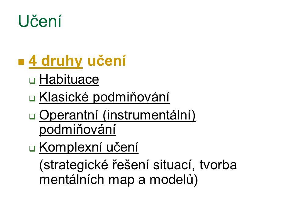 Učení 4 druhy učení  Habituace  Klasické podmiňování  Operantní (instrumentální) podmiňování  Komplexní učení (strategické řešení situací, tvorba