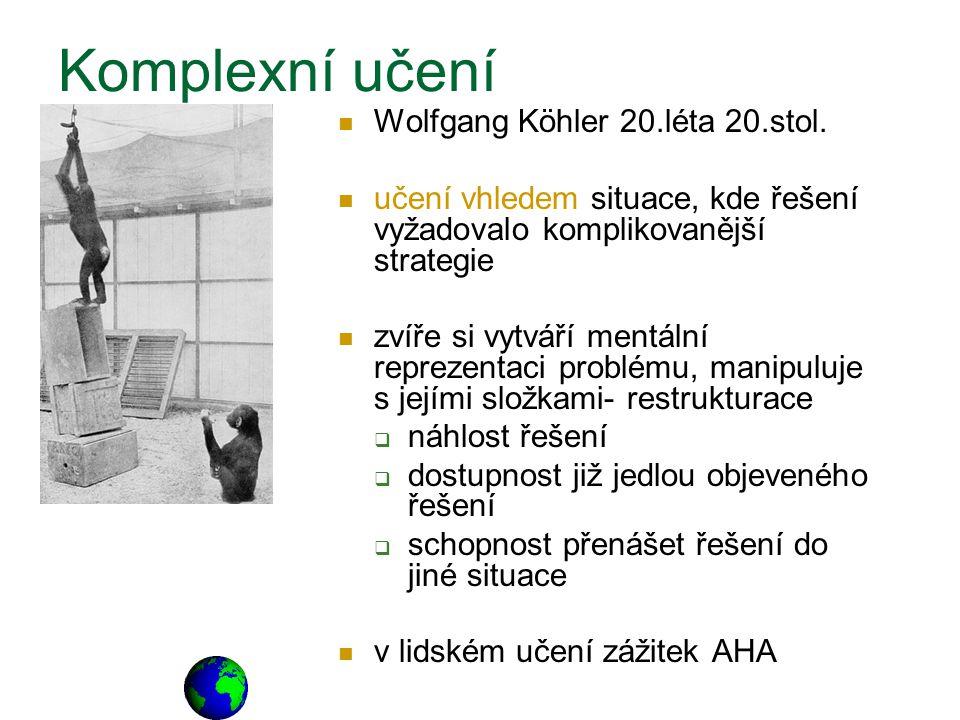 Wolfgang Köhler 20.léta 20.stol. učení vhledem situace, kde řešení vyžadovalo komplikovanější strategie zvíře si vytváří mentální reprezentaci problém