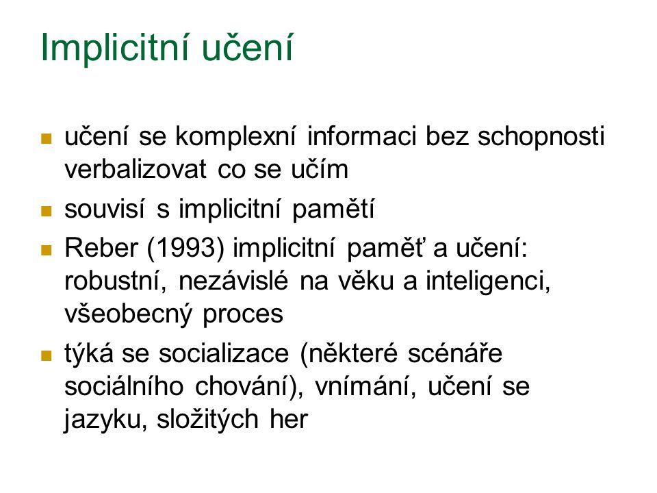 Implicitní učení učení se komplexní informaci bez schopnosti verbalizovat co se učím souvisí s implicitní pamětí Reber (1993) implicitní paměť a učení