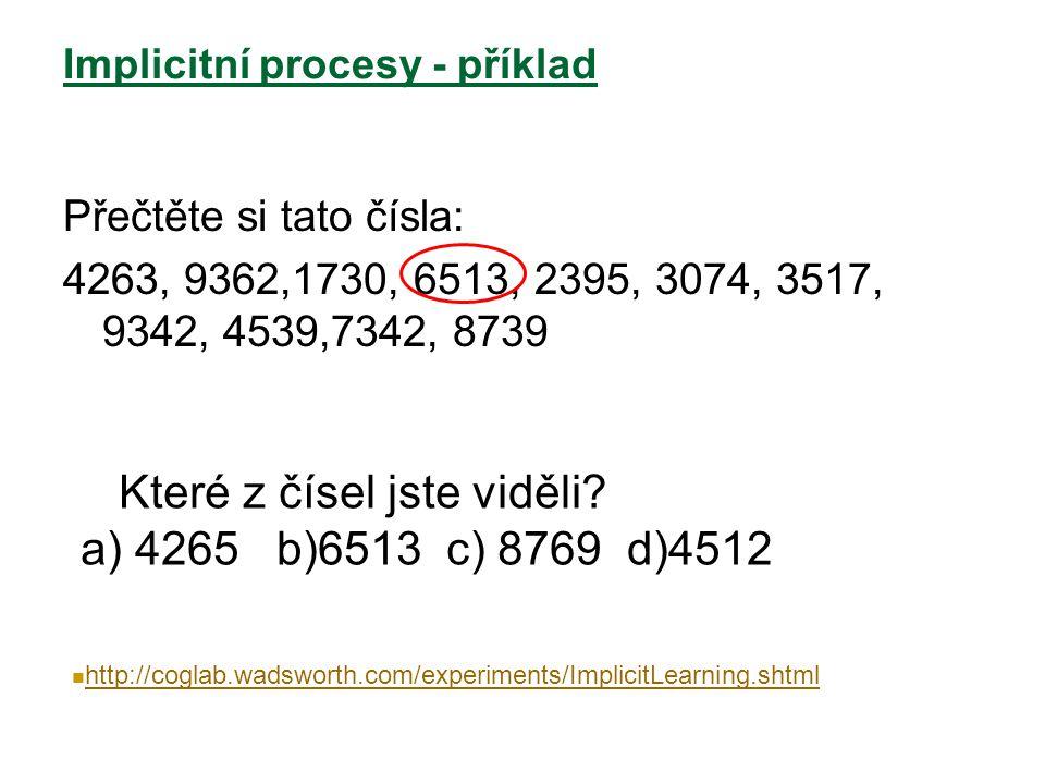 Implicitní procesy - příklad Přečtěte si tato čísla: 4263, 9362,1730, 6513, 2395, 3074, 3517, 9342, 4539,7342, 8739 Které z čísel jste viděli? a) 4265