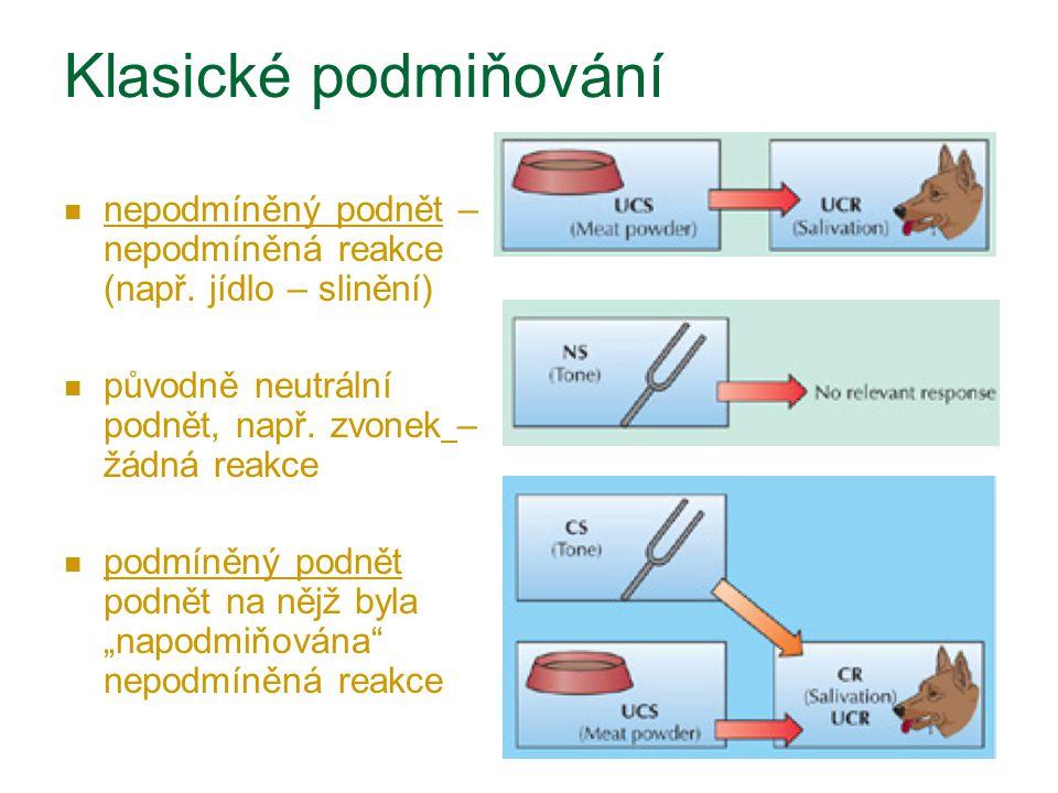 Klasické podmiňování nepodmíněný podnět – nepodmíněná reakce (např. jídlo – slinění) původně neutrální podnět, např. zvonek – žádná reakce podmíněný p