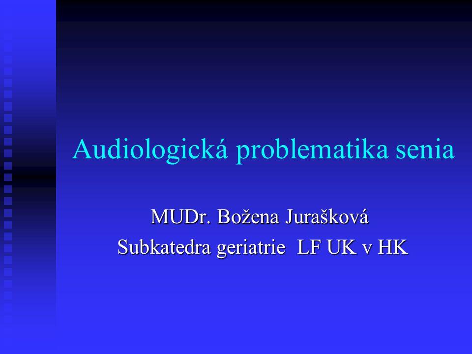 Audiologická problematika senia MUDr. Božena Jurašková Subkatedra geriatrie LF UK v HK Subkatedra geriatrie LF UK v HK