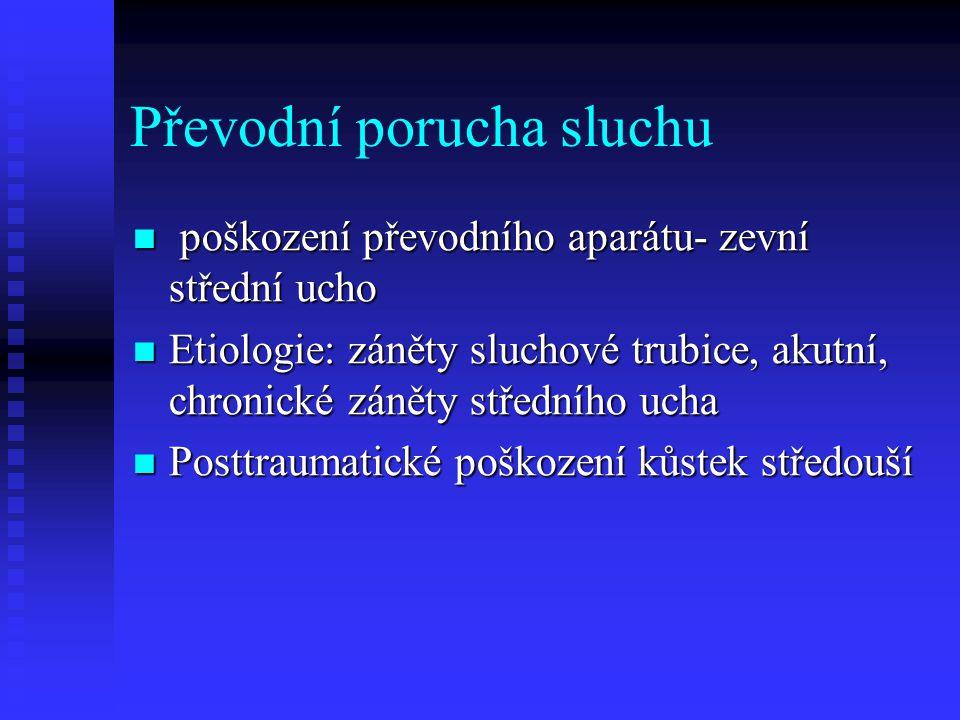 Převodní porucha sluchu poškození převodního aparátu- zevní střední ucho poškození převodního aparátu- zevní střední ucho Etiologie: záněty sluchové trubice, akutní, chronické záněty středního ucha Etiologie: záněty sluchové trubice, akutní, chronické záněty středního ucha Posttraumatické poškození kůstek středouší Posttraumatické poškození kůstek středouší