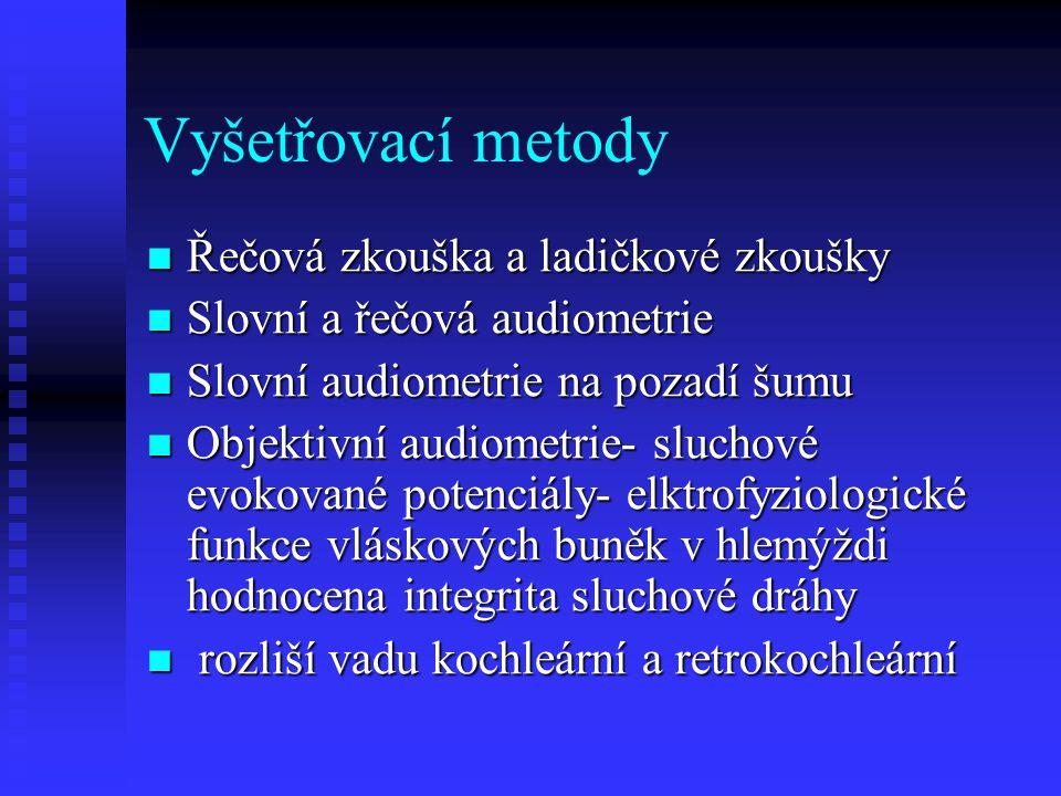 Vyšetřovací metody Řečová zkouška a ladičkové zkoušky Řečová zkouška a ladičkové zkoušky Slovní a řečová audiometrie Slovní a řečová audiometrie Slovn