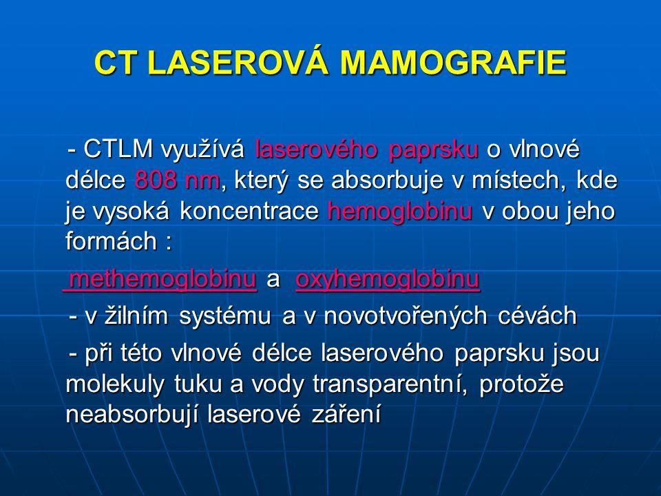CT LASEROVÁ MAMOGRAFIE - CTLM využívá laserového paprsku o vlnové délce 808 nm, který se absorbuje v místech, kde je vysoká koncentrace hemoglobinu v