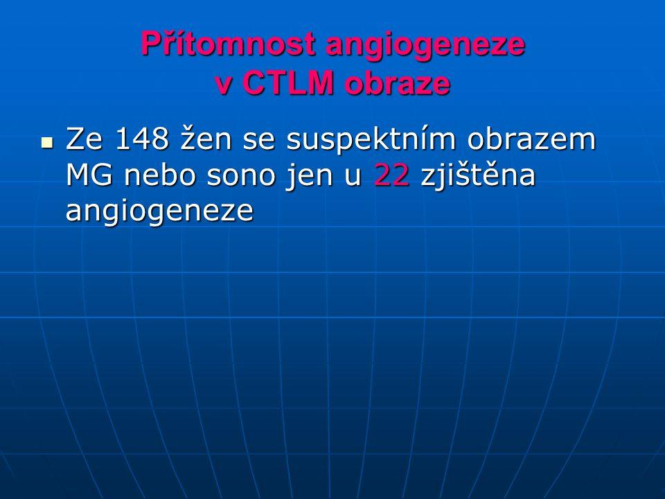 Přítomnost angiogeneze v CTLM obraze Ze 148 žen se suspektním obrazem MG nebo sono jen u 22 zjištěna angiogeneze Ze 148 žen se suspektním obrazem MG n