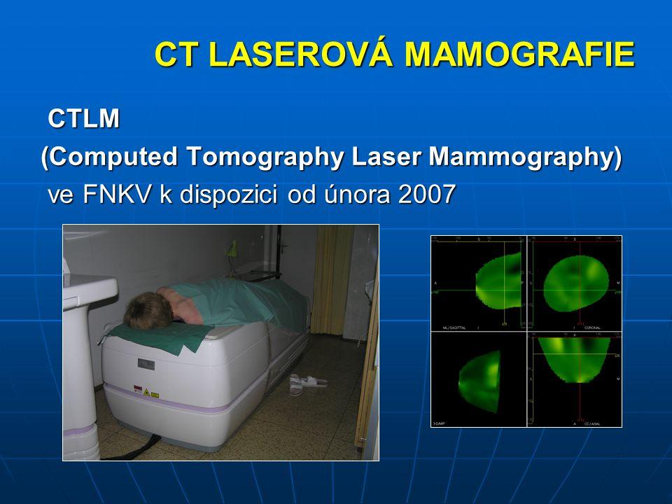 CT LASEROVÁ MAMOGRAFIE CTLM CTLM (Computed Tomography Laser Mammography) ve FNKV k dispozici od února 2007 ve FNKV k dispozici od února 2007