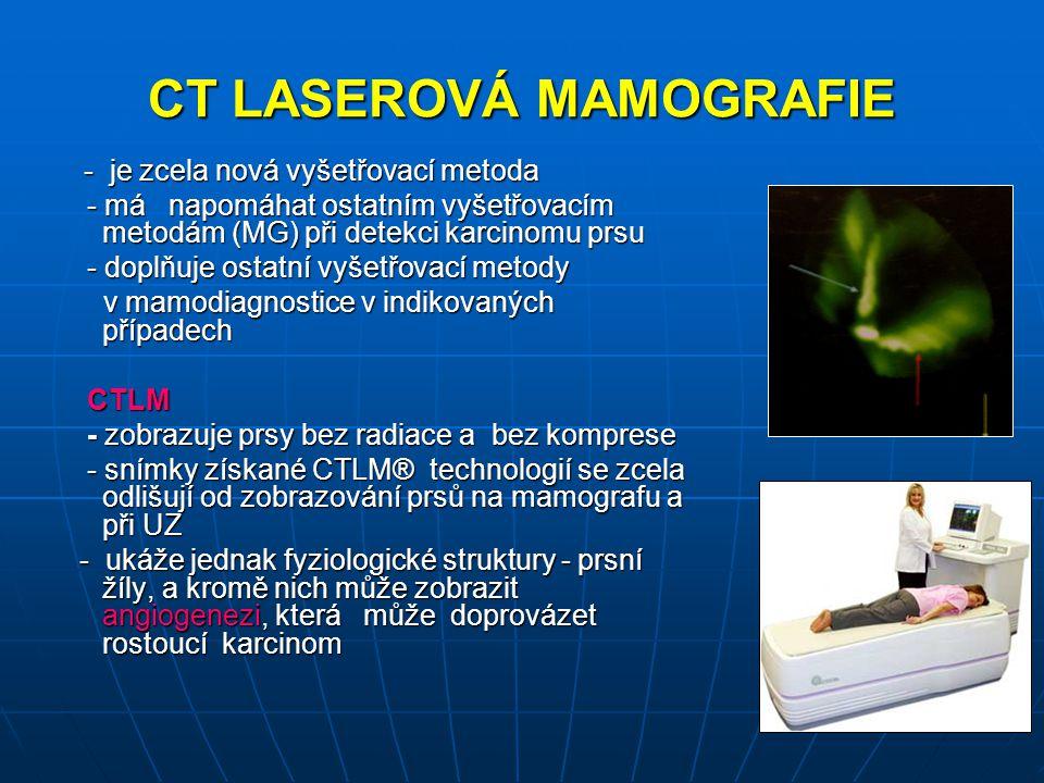 CT LASEROVÁ MAMOGRAFIE - je zcela nová vyšetřovací metoda - je zcela nová vyšetřovací metoda - má napomáhat ostatním vyšetřovacím metodám (MG) při det