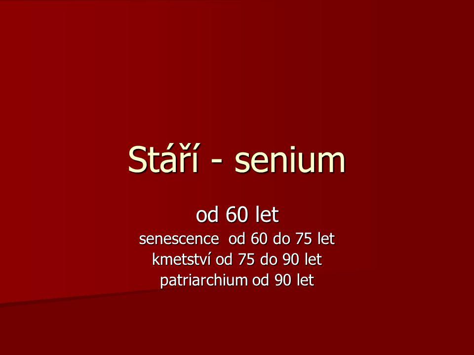 Stáří - senium od 60 let senescence od 60 do 75 let kmetství od 75 do 90 let patriarchium od 90 let