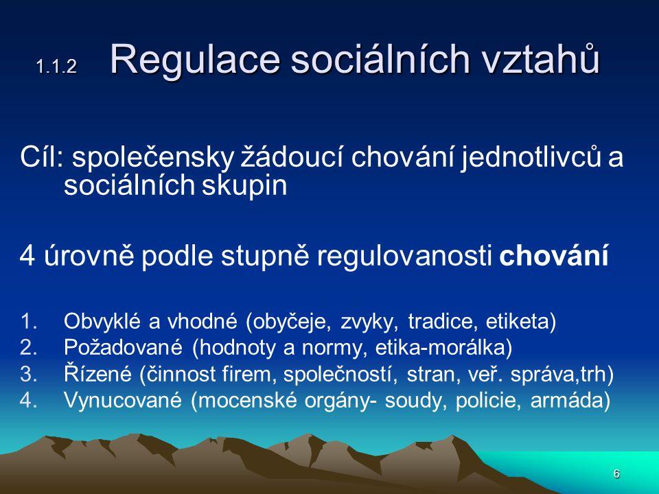 6 1.1.2 Regulace sociálních vztahů Cíl: společensky žádoucí chování jednotlivců a sociálních skupin 4 úrovně podle stupně regulovanosti chování 1.Obvyklé a vhodné (obyčeje, zvyky, tradice, etiketa) 2.Požadované (hodnoty a normy, etika-morálka) 3.Řízené (činnost firem, společností, stran, veř.
