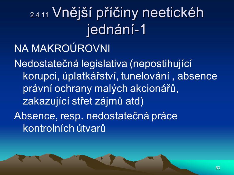 63 2.4.11 Vnější příčiny neetickéh jednání-1 NA MAKROÚROVNI Nedostatečná legislativa (nepostihující korupci, úplatkářství, tunelování, absence právní ochrany malých akcionářů, zakazující střet zájmů atd) Absence, resp.