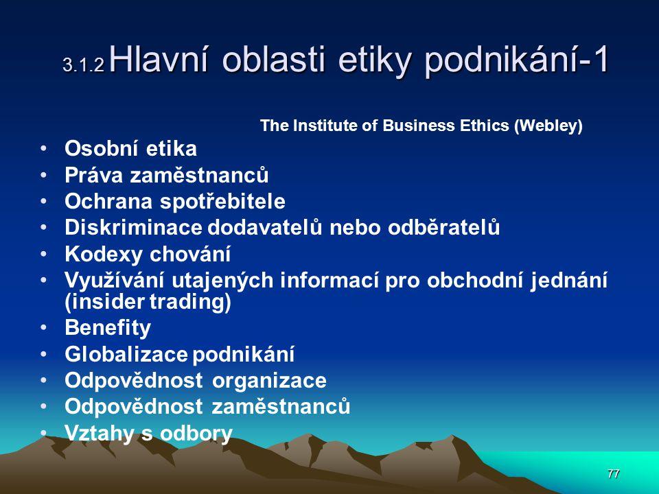 77 3.1.2 Hlavní oblasti etiky podnikání-1 The Institute of Business Ethics (Webley) Osobní etika Práva zaměstnanců Ochrana spotřebitele Diskriminace dodavatelů nebo odběratelů Kodexy chování Využívání utajených informací pro obchodní jednání (insider trading) Benefity Globalizace podnikání Odpovědnost organizace Odpovědnost zaměstnanců Vztahy s odbory
