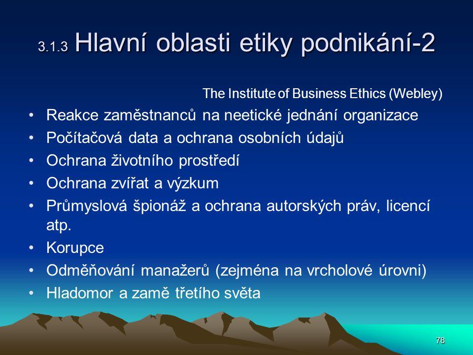 78 3.1.3 Hlavní oblasti etiky podnikání-2 The Institute of Business Ethics (Webley) Reakce zaměstnanců na neetické jednání organizace Počítačová data a ochrana osobních údajů Ochrana životního prostředí Ochrana zvířat a výzkum Průmyslová špionáž a ochrana autorských práv, licencí atp.