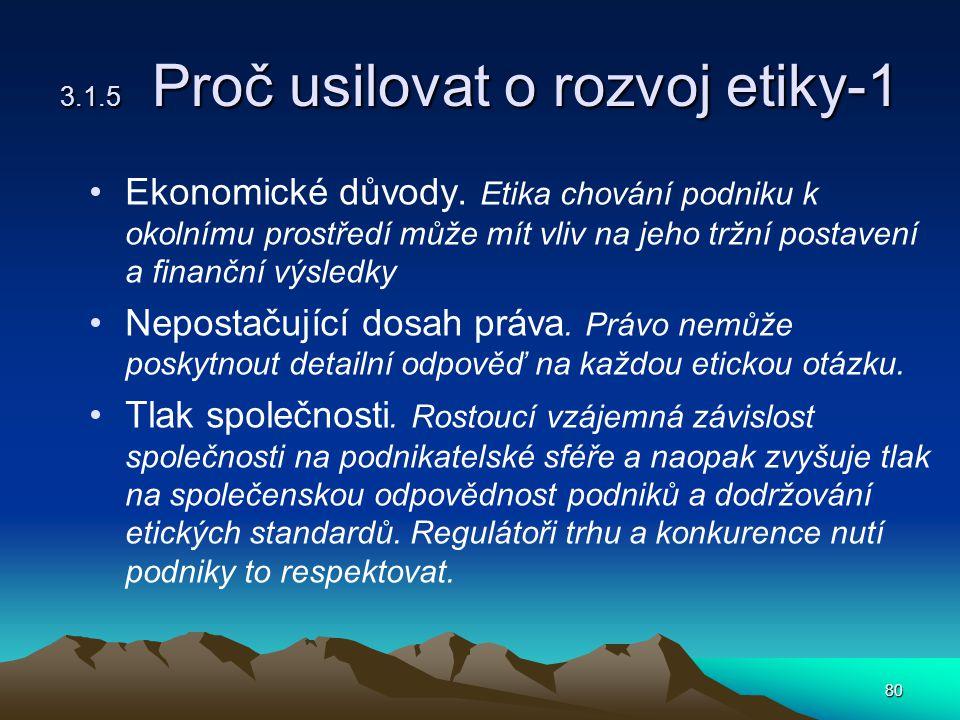 80 3.1.5 Proč usilovat o rozvoj etiky-1 Ekonomické důvody.