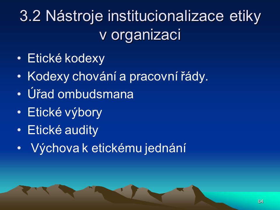 84 3.2 Nástroje institucionalizace etiky v organizaci Etické kodexy Kodexy chování a pracovní řády.