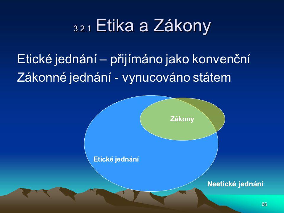 85 3.2.1 Etika a Zákony Etické jednání – přijímáno jako konvenční Zákonné jednání - vynucováno státem Etické jednání Zákony Neetické jednání