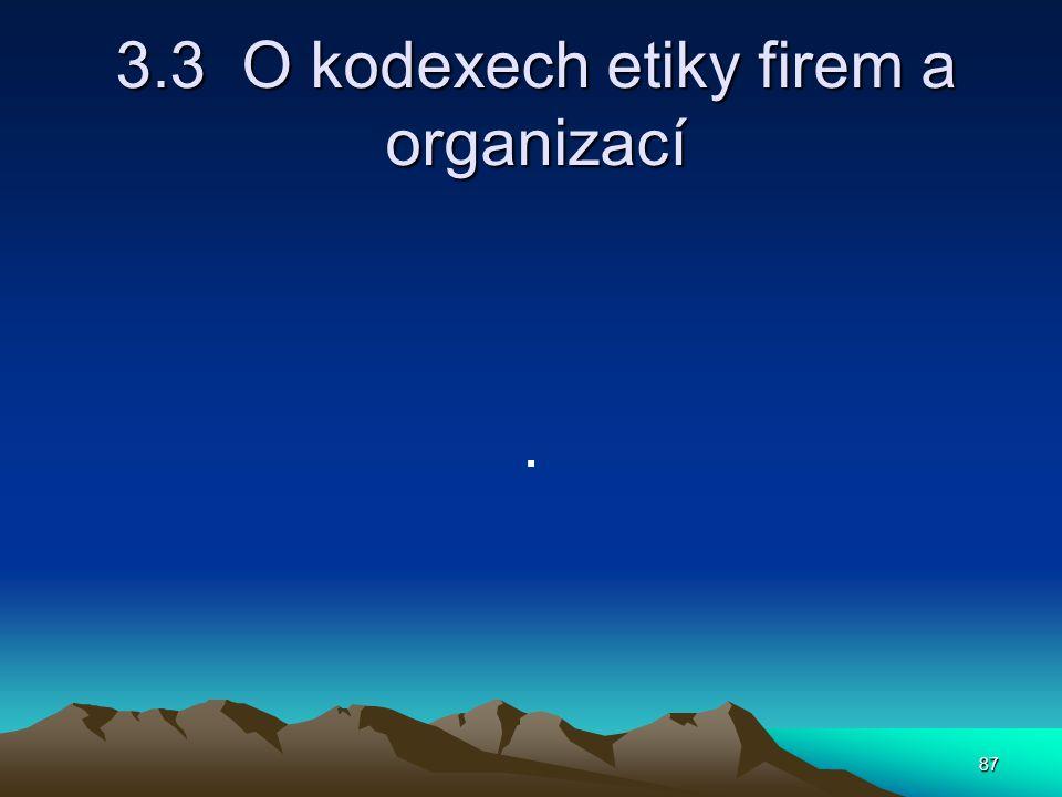 87 3.3 O kodexech etiky firem a organizací.
