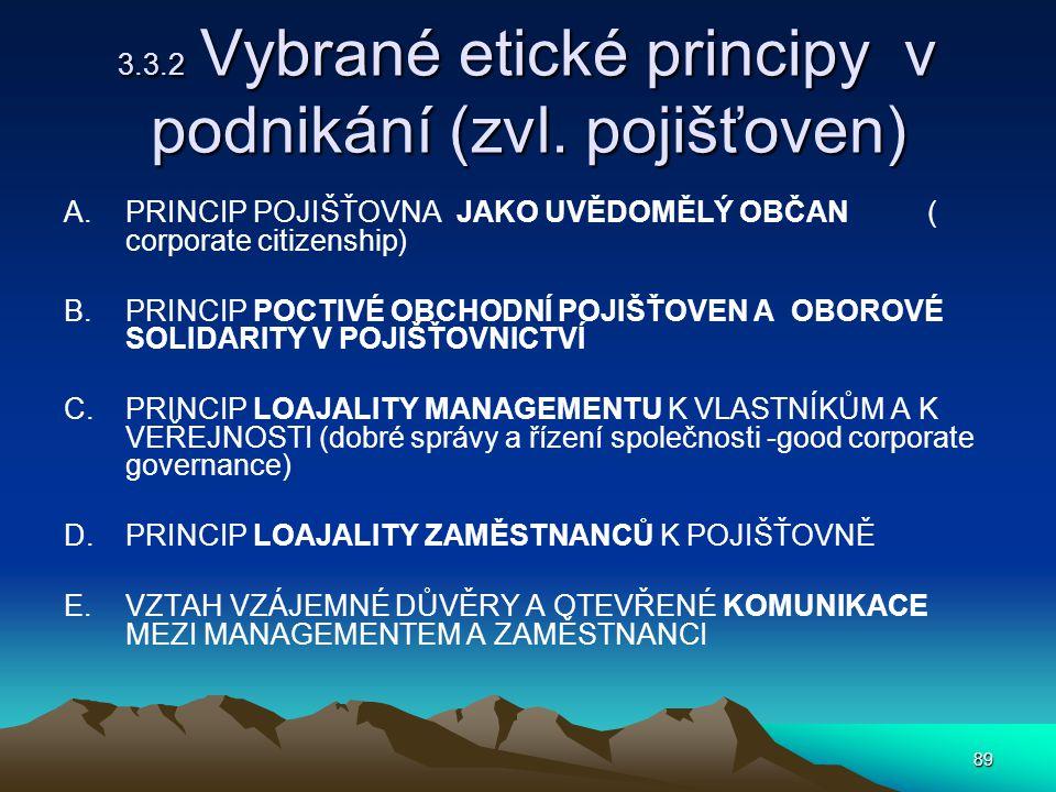 89 3.3.2 Vybrané etické principy v podnikání (zvl.