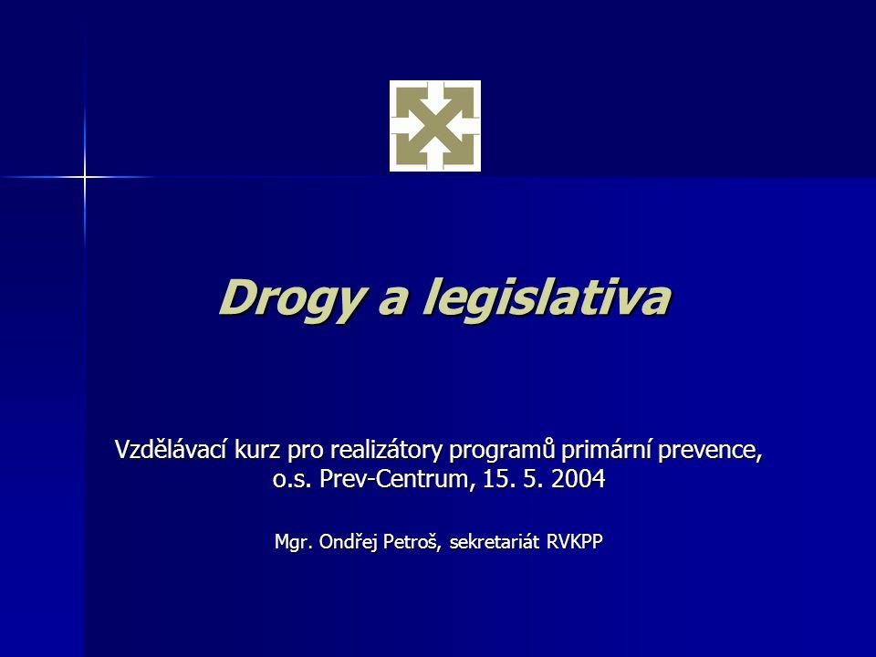 Obsah prezentace Obecný rámec Obecný rámec Mezinárodní smlouvy Mezinárodní smlouvy Trestné činy, přestupky, vězeňství Trestné činy, přestupky, vězeňství Kontrola legálního zacházení Kontrola legálního zacházení Legislativa v oblasti prevence a léčby Legislativa v oblasti prevence a léčby Drogy ve školách Drogy ve školách Zahraniční legislativa Zahraniční legislativa Legislativa EU Legislativa EU