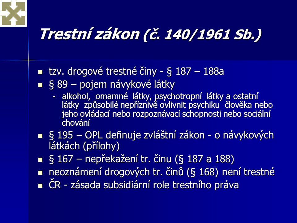 Trestní zákon (č. 140/1961 Sb.) tzv. drogové trestné činy - § 187 – 188a tzv. drogové trestné činy - § 187 – 188a § 89 – pojem návykové látky § 89 – p