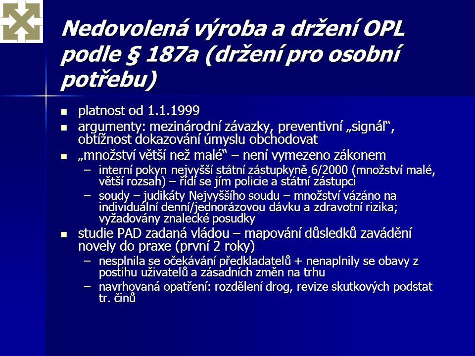 Nedovolená výroba a držení OPL podle § 187a (držení pro osobní potřebu) platnost od 1.1.1999 platnost od 1.1.1999 argumenty: mezinárodní závazky, prev