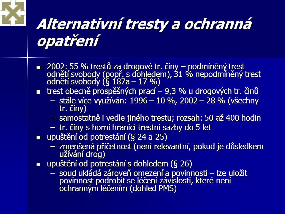 Alternativní tresty a ochranná opatření 2002: 55 % trestů za drogové tr. činy – podmíněný trest odnětí svobody (popř. s dohledem), 31 % nepodmíněný tr