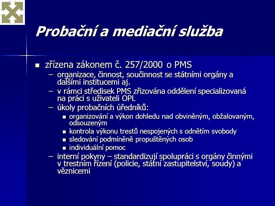 Probační a mediační služba zřízena zákonem č. 257/2000 o PMS zřízena zákonem č. 257/2000 o PMS –organizace, činnost, součinnost se státními orgány a d