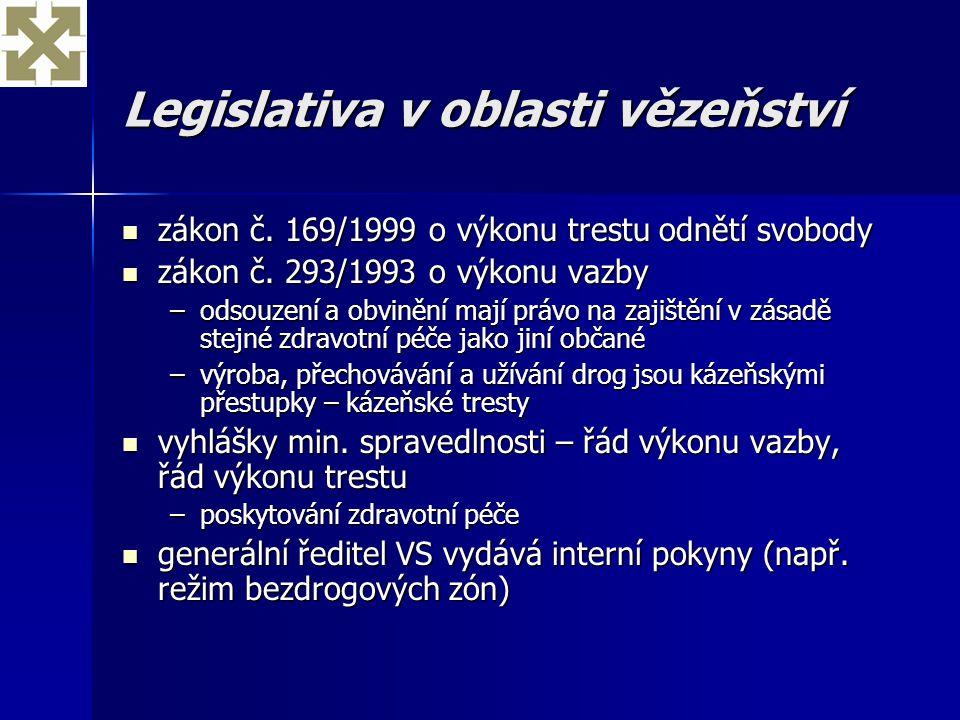 Legislativa v oblasti vězeňství zákon č. 169/1999 o výkonu trestu odnětí svobody zákon č. 169/1999 o výkonu trestu odnětí svobody zákon č. 293/1993 o