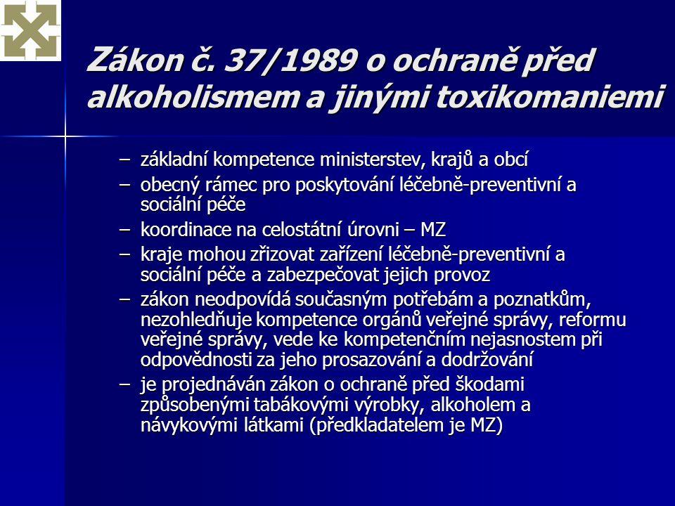 Z ákon č. 37/1989 o ochraně před alkoholismem a jinými toxikomaniemi –základní kompetence ministerstev, krajů a obcí –obecný rámec pro poskytování léč