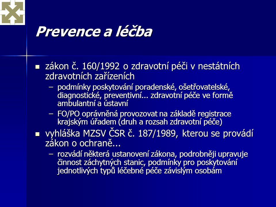 Prevence a léčba zákon č. 160/1992 o zdravotní péči v nestátních zdravotních zařízeních zákon č. 160/1992 o zdravotní péči v nestátních zdravotních za