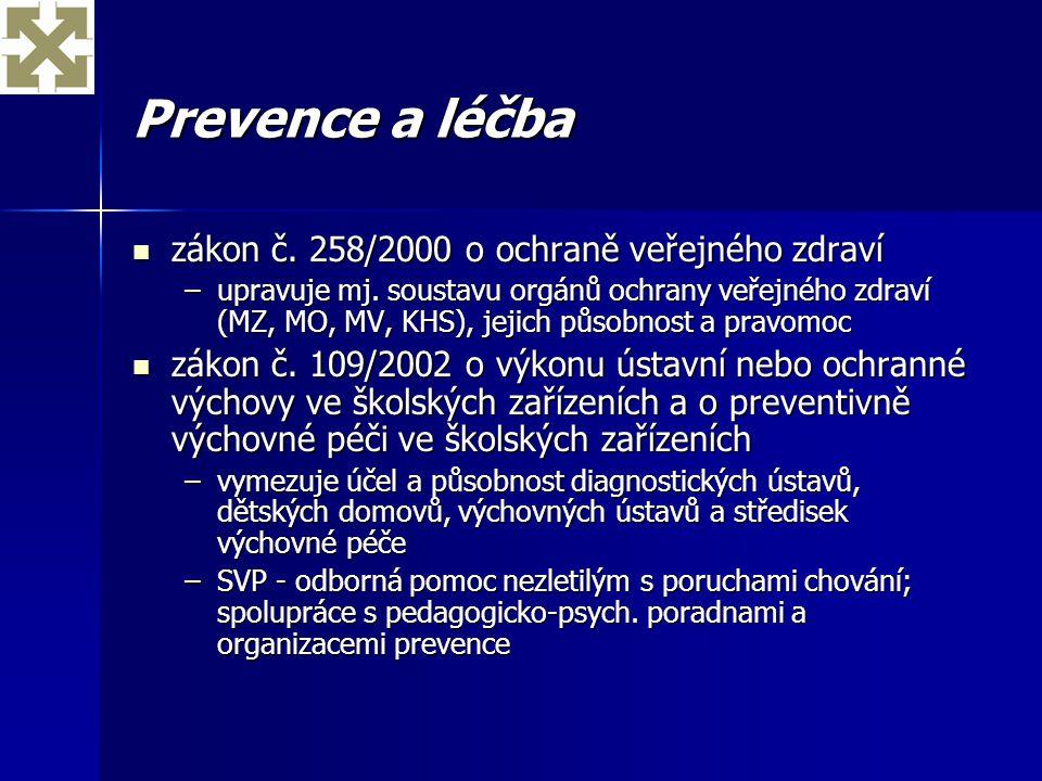Prevence a léčba zákon č. 258/2000 o ochraně veřejného zdraví zákon č. 258/2000 o ochraně veřejného zdraví –upravuje mj. soustavu orgánů ochrany veřej