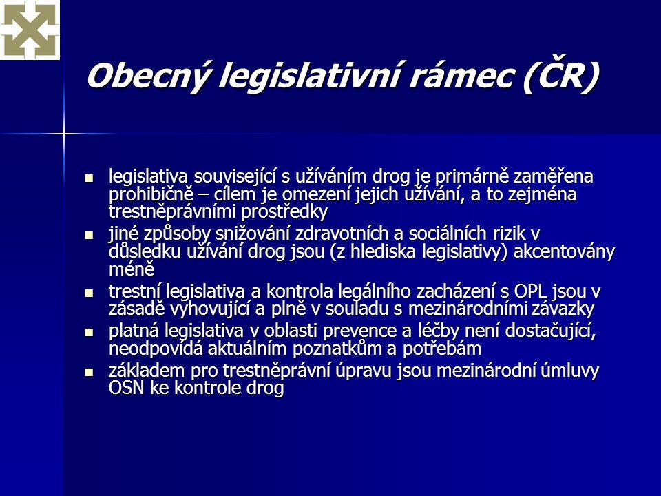 Obecný legislativní rámec (ČR) legislativa související s užíváním drog je primárně zaměřena prohibičně – cílem je omezení jejich užívání, a to zejména