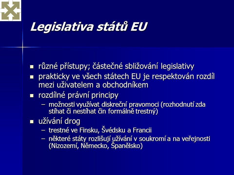 Legislativa států EU různé přístupy; částečné sbližování legislativy různé přístupy; částečné sbližování legislativy prakticky ve všech státech EU je