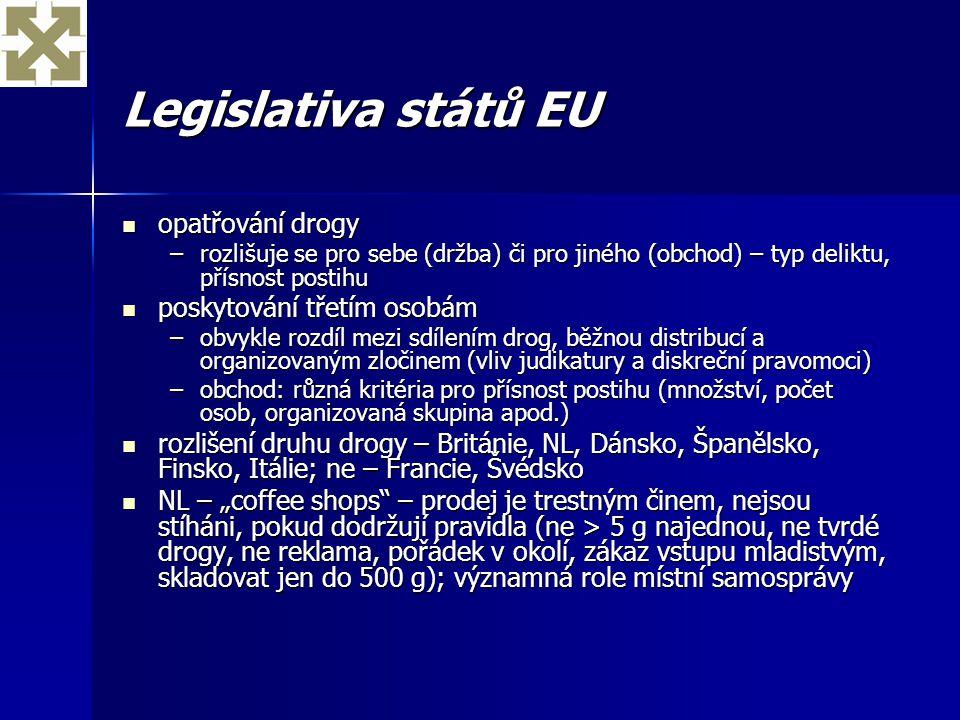 Legislativa států EU opatřování drogy opatřování drogy –rozlišuje se pro sebe (držba) či pro jiného (obchod) – typ deliktu, přísnost postihu poskytová
