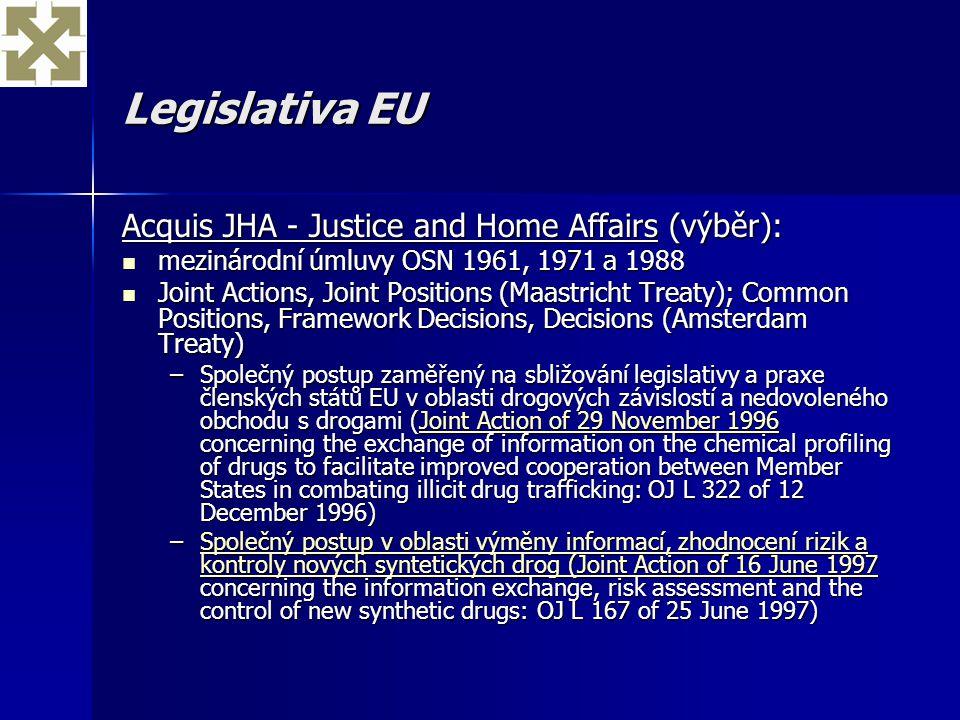 Legislativa EU Acquis JHA - Justice and Home Affairs (výběr): mezinárodní úmluvy OSN 1961, 1971 a 1988 mezinárodní úmluvy OSN 1961, 1971 a 1988 Joint