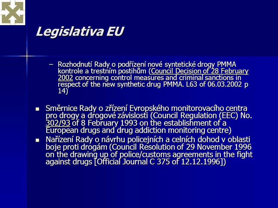 Legislativa EU –Rozhodnutí Rady o podřízení nové syntetické drogy PMMA kontrole a trestním postihům (Council Decision of 28 February 2002 concerning c