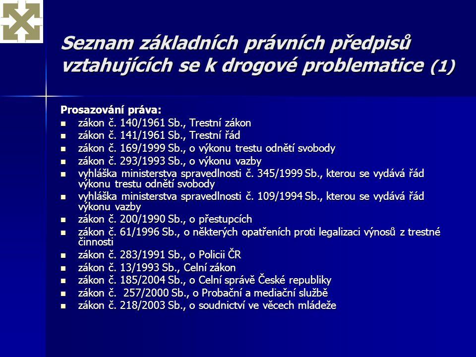 Seznam základních právních předpisů vztahujících se k drogové problematice (1) Prosazování práva: zákon č. 140/1961 Sb., Trestní zákon zákon č. 140/19