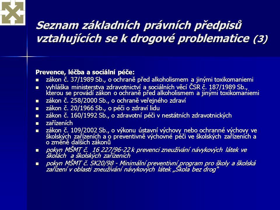 Seznam základních právních předpisů vztahujících se k drogové problematice (3) Prevence, léčba a sociální péče: zákon č. 37/1989 Sb., o ochraně před a