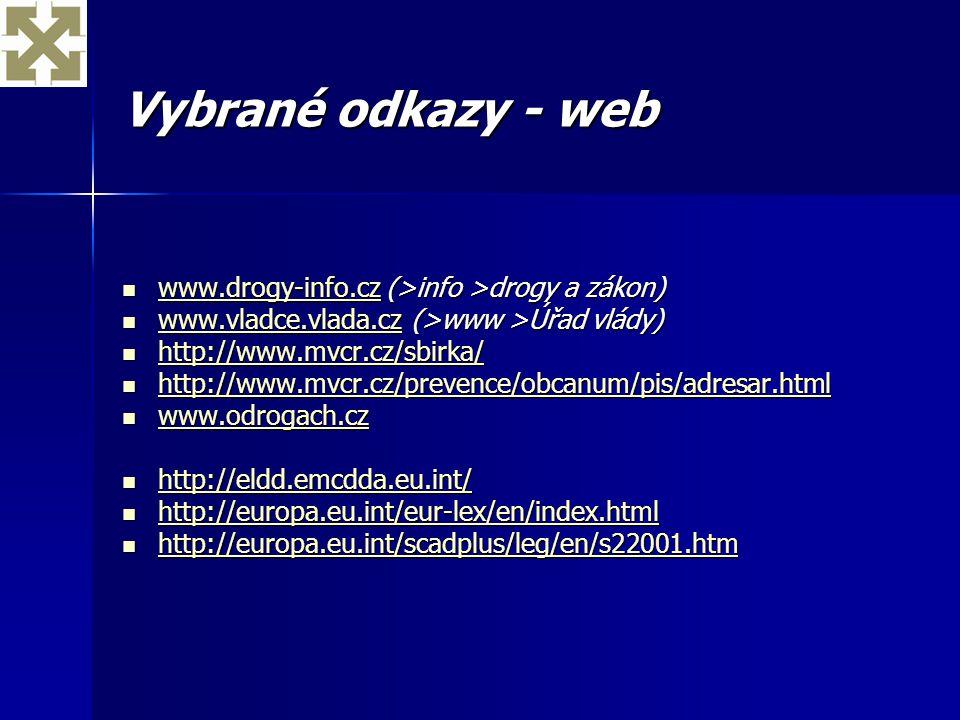 Vybrané odkazy - web www.drogy-info.cz (>info >drogy a zákon) www.drogy-info.cz (>info >drogy a zákon) www.drogy-info.cz www.vladce.vlada.cz (>www >Úř