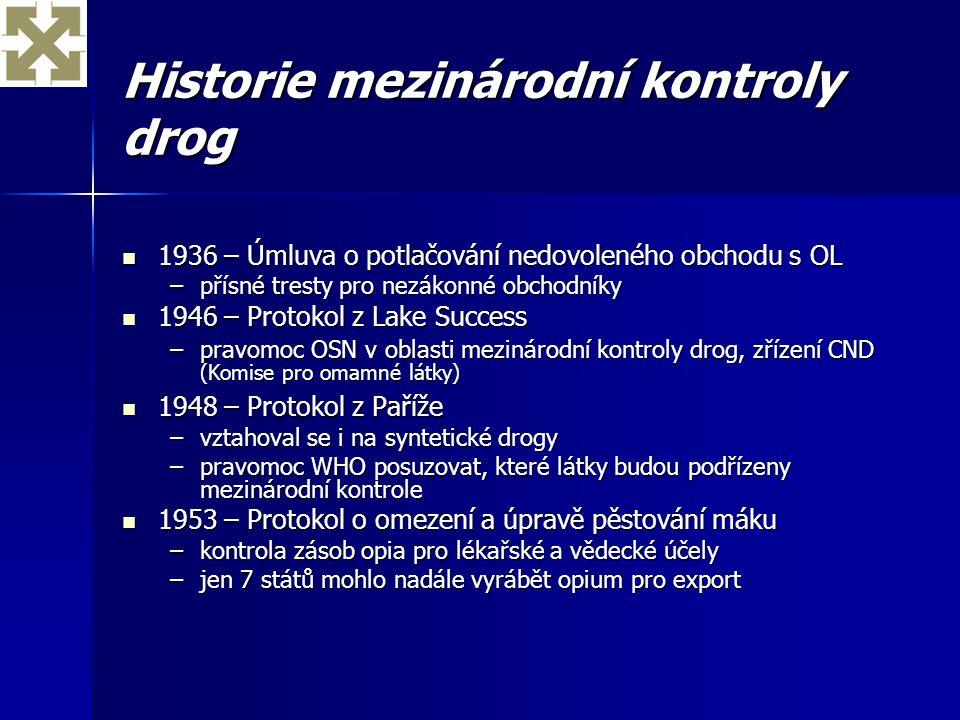 Historie mezinárodní kontroly drog 1936 – Úmluva o potlačování nedovoleného obchodu s OL 1936 – Úmluva o potlačování nedovoleného obchodu s OL –přísné