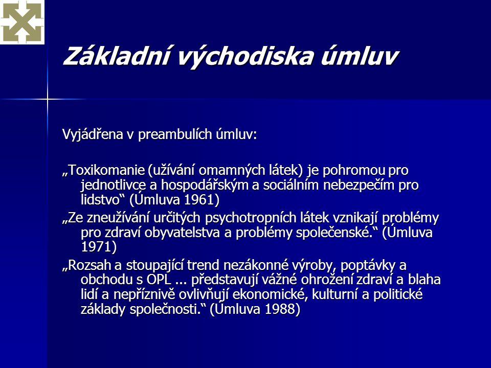 """Základní východiska úmluv Vyjádřena v preambulích úmluv: """"Toxikomanie (užívání omamných látek) je pohromou pro jednotlivce a hospodářským a sociálním"""