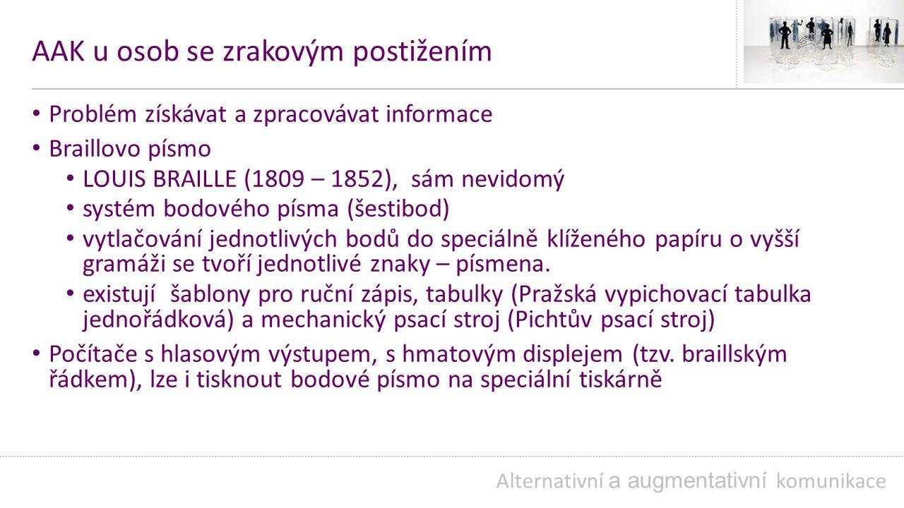 AAK u osob se zrakovým postižením Problém získávat a zpracovávat informace Braillovo písmo LOUIS BRAILLE (1809 – 1852), sám nevidomý systém bodového písma (šestibod) vytlačování jednotlivých bodů do speciálně klíženého papíru o vyšší gramáži se tvoří jednotlivé znaky – písmena.