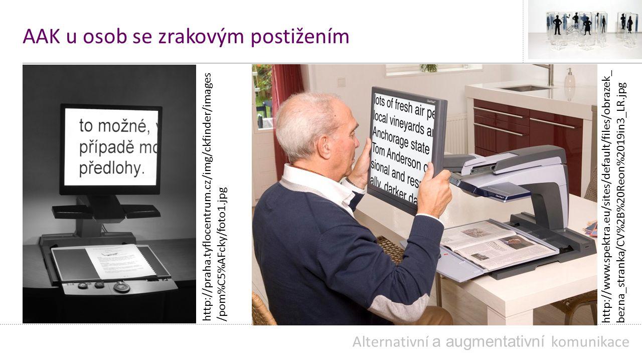 AAK u osob se zrakovým postižením Alternativní a augmentativní komunikace http://praha.tyflocentrum.cz/img/ckfinder/images /pom%C5%AFcky/foto1.jpg http://www.spektra.eu/sites/default/files/obrazek_ bezna_stranka/CV%2B%20Reon%2019in3_LR.jpg