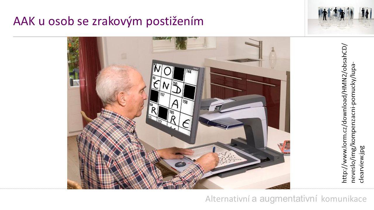 AAK u osob se zrakovým postižením Alternativní a augmentativní komunikace http://www.lorm.cz/download/HMN2/obsahCD/ neveslo/img/kompenzacni-pomucky/lupa- clearview.jpg