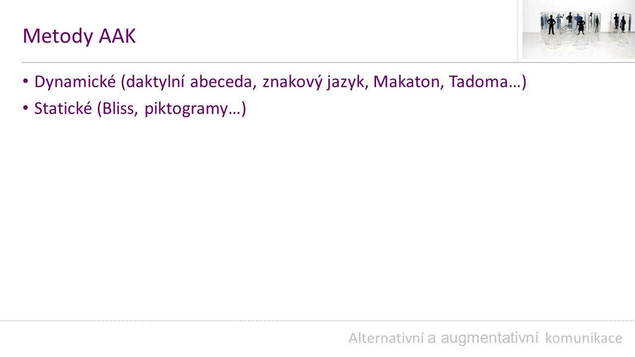 Metody AAK Dynamické (daktylní abeceda, znakový jazyk, Makaton, Tadoma…) Statické (Bliss, piktogramy…) Alternativní a augmentativní komunikace