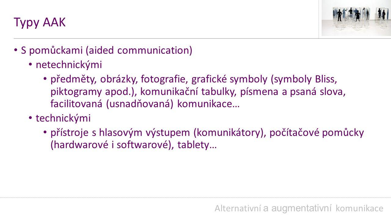 Typy AAK S pomůckami (aided communication) netechnickými předměty, obrázky, fotografie, grafické symboly (symboly Bliss, piktogramy apod.), komunikační tabulky, písmena a psaná slova, facilitovaná (usnadňovaná) komunikace… technickými přístroje s hlasovým výstupem (komunikátory), počítačové pomůcky (hardwarové i softwarové), tablety… Alternativní a augmentativní komunikace