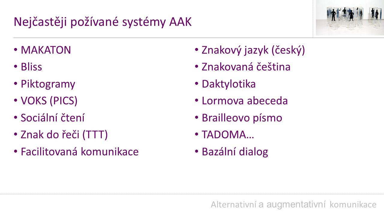 Nejčastěji požívané systémy AAK MAKATON Bliss Piktogramy VOKS (PICS) Sociální čtení Znak do řeči (TTT) Facilitovaná komunikace Alternativní a augmentativní komunikace Znakový jazyk (český) Znakovaná čeština Daktylotika Lormova abeceda Brailleovo písmo TADOMA… Bazální dialog