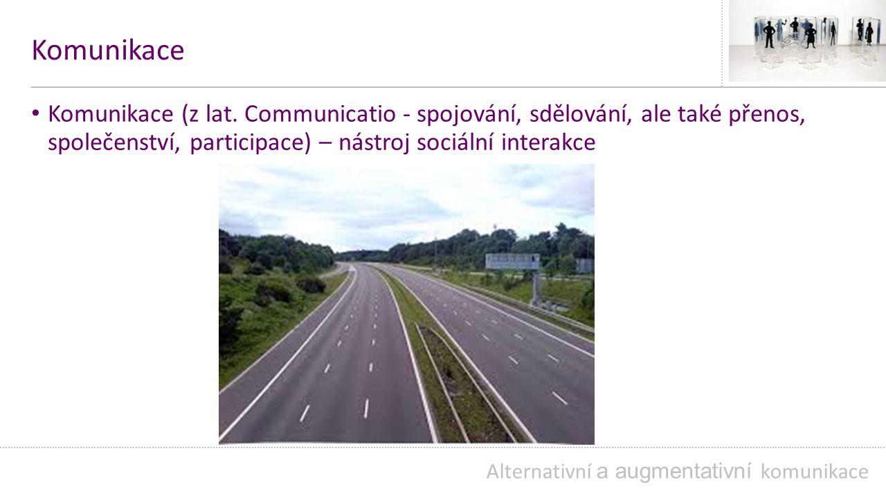 Komunikace verbální neverbální receptivní (schopnost rozumět komunikačnímu sdělení) expresivní (schopnost vyjadřovat komunikační záměr) Alternativní a augmentativní komunikace